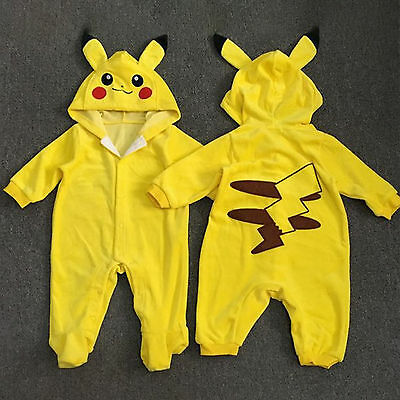Newborn Baby Boys Girls Pokemon Pikachu Hooded Jumpsuit Romper Playsuit Outfits