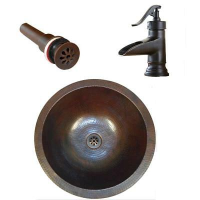 "15"" Round Copper Undermount Bath Vanity Sink with Daisy Drain and ORB 7"" Faucet"