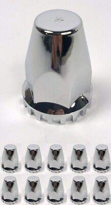 (Set/10) Threaded 33MM Chrome Lug Nut Covers, Peterbilt Kenworth Freightliner