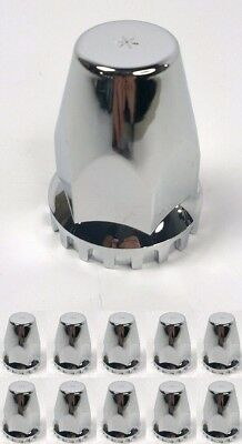 (Set/10) Threaded 33mm Chrome Lug Nut Covers for Peterbilt Kenworth Freightliner