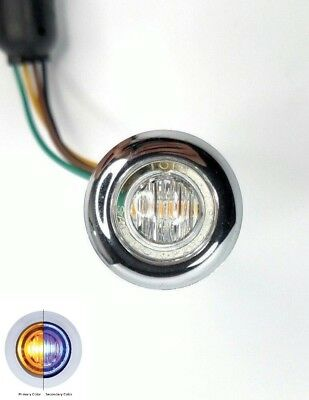 "1-1/4"" LED Dual Color Marker/Clearance Light - Amber & Blue w/ Clear Lens"