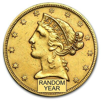 $5 Liberty Gold Half Eagle Coin (Cleaned) - SKU #176538
