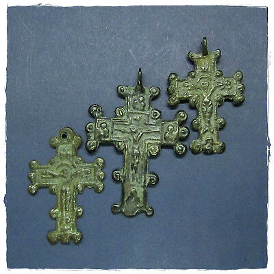 ** Three Crosses **  Ancient Amulet Byzantine Bronze Pendants!!!