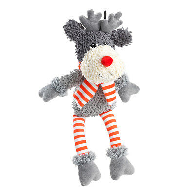 House of Paws Christmas Reindeer Fuzzy Silent Squeaker Free Dog Toy | Rudolph