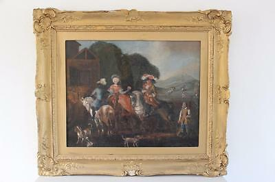 Early 18th Century Naive Painting of Late 17th Century Hunting Scenes 95x80cm