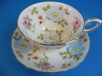 Tuscan Cup & Saucer White With Blue Flowers