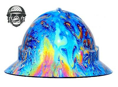 Custom Hydrographic Wide Brim Safety Hard Hats Colour SWIRL WIDE