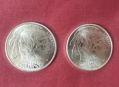 2 x 2011 Indian Head Buffalo .999 Pure 1oz Generic Silver Rounds (2 Coins) #290