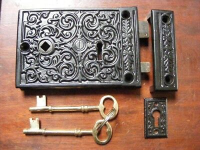 victorian style,ornate cast iron rim lock and keeper.with keys,TH 2010