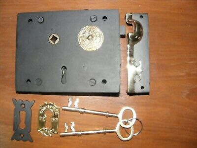 "Victorian iron and brass carpenter lock & keeper & 2 keys,smaller 6"",152mm,New"
