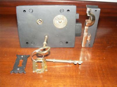 "Large Victorian,182 mm,7"",iron & brass  carpenter lock and keeper & 2 keys,New"