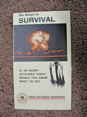 1955 Six Steps to Survival if enemy attacked today Civil Defense booklet