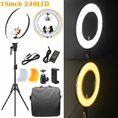 240LED Dimmable Ring Light 18 inch Diameter with Tripod Stand Angle Adjusting B2