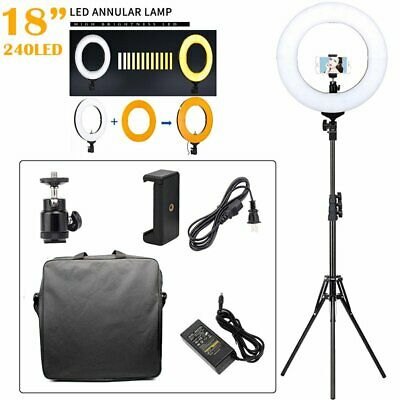 """18"""" LED Ring Light with Stand 5500K Dimmable Lighting Kit Makeup Youtube Live B2"""