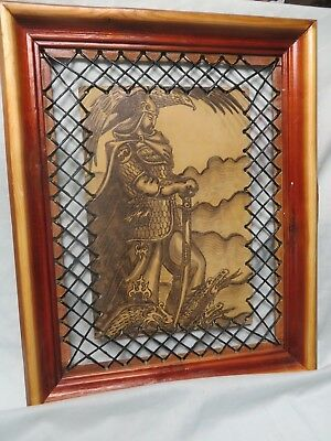 VINTAGE leather TOOLED KNIGHT SLAYING DRAGON PICTURE,UNIQUE WOOD FRAME,PRINT,15""