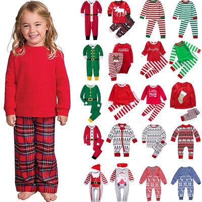 Xmas Girls Boys Baby Sleepwear Outfits Kids Toddlers Nightwear Pj's Pajamas Sets
