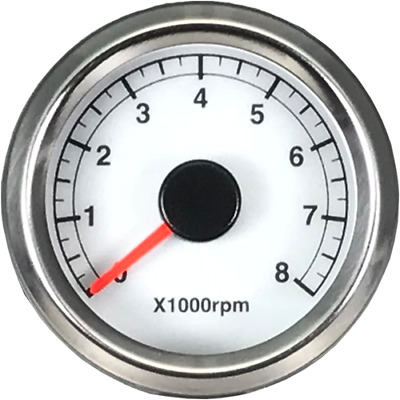 48 mm 0-8000 RPM 8.3 Hz Tachometer Motorcycle White Face Electrical-A2