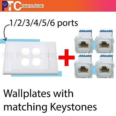 Cat6/Cat5 Ethernet WallPlate Kit Punch Down 1/2/3/4/5/6 Port Network Data Socket