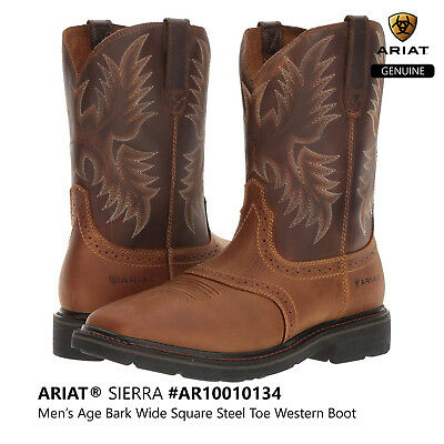 858fa2f3990 ARIAT SIERRA MEN'S Wide Square Steel Toe Western Cowboy Work Boots #10010134