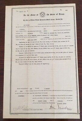 Texas Document, Original Land Grant,1927, signed by Gov. Moody