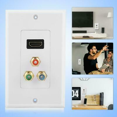 HDMI VGA Component Video Wall Plate 3RCA RGB Outlet Adapter Jack HDTV 1080P