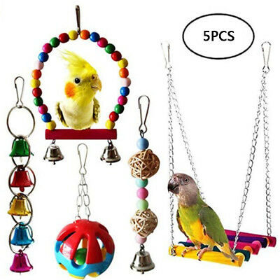 Parrot Bird Toy Set Swing Bells Hanging Bridge Chew Wooden Colorful Cage For Pet