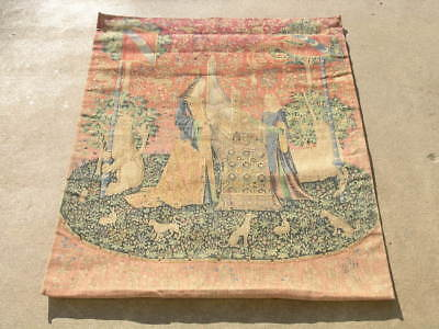 """Colorful Vintage French Tapestry Lady and Unicorn Lion Animals Garden 33x46"""""""