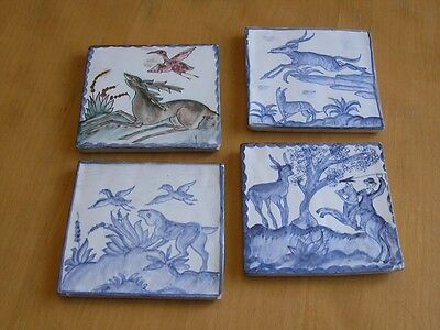 Vintage Hand Painted Polychrome &3 Blue White Pictorial Spanish Portuguise Tiles