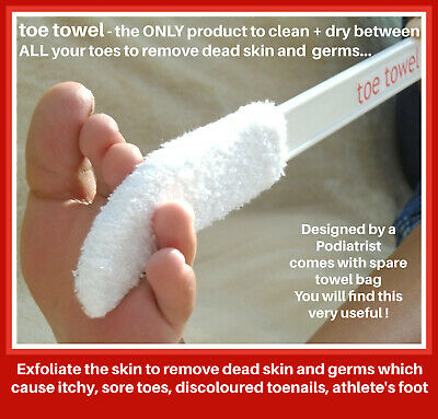 NEW TOE TOWEL (LONG HANDLE) + 3 SPARE TOWEL BAGS..Clean + Dry Your Toes!