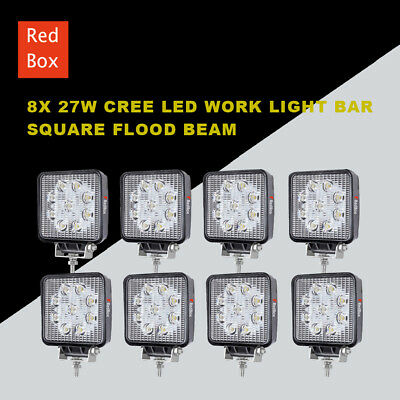 8 X 27W CREE LED WORK LIGHT BAR OFFROAD FLOOD REVERSE TRUCK Driving 12V 24V 4x4