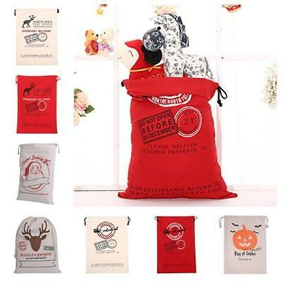 Reusable Christmas Canvas Candy Bag Santa Sack Drawstring Gift Storage Bag LI