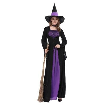 Women's Witch Long Maxi Dress Up Costume Cosplay Halloween Party Skirt Outfit