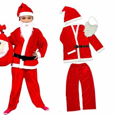 UK Father Christmas Santa Claus Suit Beard Costume Outfit Childrens Boys Dress
