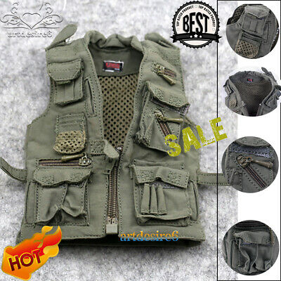 "1:6 Scale Army Green Vest Journalist Vest Model for 12"" Action Figure Hot Toys"