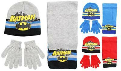 Boys Official Batman Winter Knit Beanie Hat Scarf & Gloves Set 3 to 12 Years
