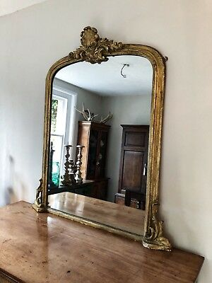 19th Century Giltwood Antique Overmantle Mirror Original Plate Good Size