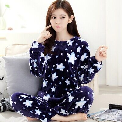 Women Ladies Warm Fleece Winter PJ Pyjama Set Night Wear Pyjamas Sets Sleepwear