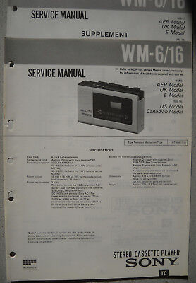 SONY WM-6/16 Service Manual inkl. Supplement 1