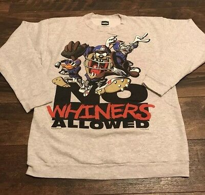 Vintage 1995 Looney Tunes Bugs Taz No Whiners Allowed Nfl Football Sweatshirt Xl