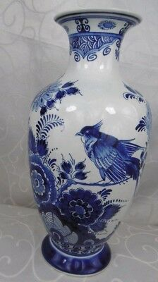 Vintage Blue Delfts Blauw 513 Vase Bird and Floral Hand Painted Made in Holland