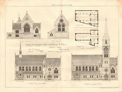 Art 1884 Antique Print Proposed Restoration Of Exterior Of Westminster Hall