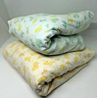 Vintage Carters Cotton Crib Fit Sheets Striped Blue Yellow Cat Bunnies Squirrels