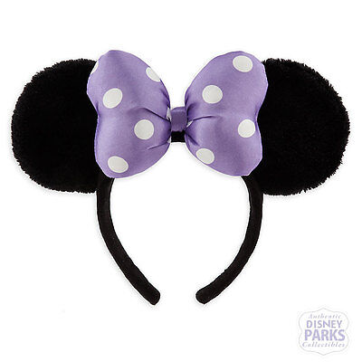 Disney Parks Minnie Satin Bow Plush Ear Headband Polka Dot Purple Ears