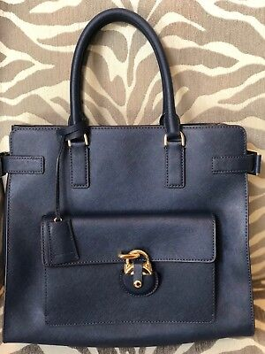 5d42742569df NWOT Michael Kors Emma Large Tote Navy Blue with Gold Hardware Saffiano  Leather