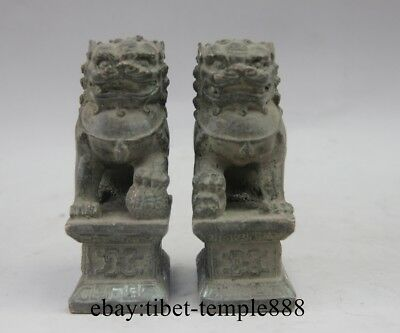 Chinese Bronze Copper Fengshui Animal Lucky Foo Dog Lion Guardian Beast Statue
