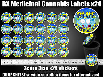 BLUE CHEESE CALI Labels Stickers 13 Dram pop top Medical TIN CAN JAR POT