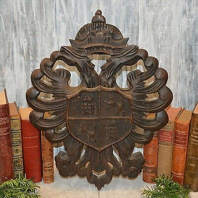 Antique Black Forest Carved Wood Crest Crown Double Eagles Wall Shield