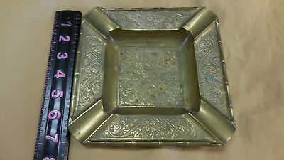 Vintage Ashtray Brass Large Square Engraved Etched Design