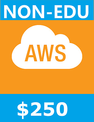 $250 AWS Credits Amazon Web Services Credit - NON EDU !!!