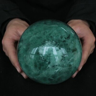 """8.68LB 5.2"""" Natural Rainbow Fluorite Crystal Sphere Ball Polished Healing"""